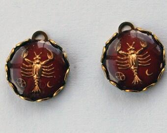 Vintage Glass Intaglio Zodiac Round Pendants Astrology Cancer Red 13mm