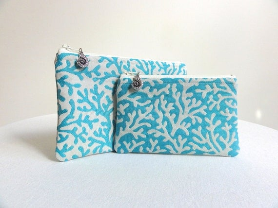 Seaside Zippered Coral Pouches in Aqua - Set of 2 - Shell Charms - READY TO SHIP