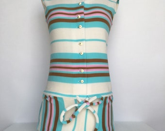 ADORABLE 60s striped romper bathing suit cover up