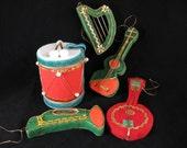 1950's flocked ornaments. musical instruments christmas ornaments. guitar + harp + trumpet + drum.