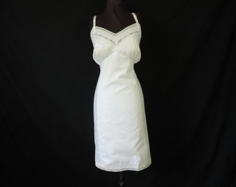 white lace cotton slip 50s gaymode plus size lingerie full slip 44 new old stock