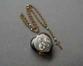 Mini Antique Rosary  Locket Mary Sacred Heart Religious Collectible Miniature Rosaries