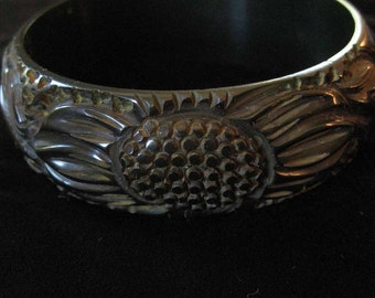 Dark Green Carved Bakelite Bangle Bracelet, Sunflower