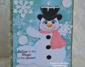 Vintage Snowman Winter Christmas Handmade Paper Piecing 3D Greeting Card