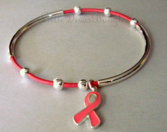 Pink Ribbon Awareness LEATHER  Double Silver Tubes Bangle  Genuine Natural Leather Cord Beaded Bracelet -Pick COLOR-Gift For Her USA  001