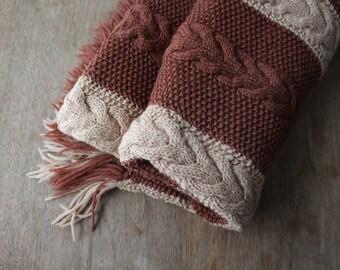 Vintage Afghan Blanket Knit Brown Beige Camel Tan Cable Knit Home Decor Fringe