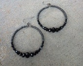 Big Black Beaded Crystal Hoop Earrings, Bohemian Boho Gypsy, Large Hoops, Crystal earrings