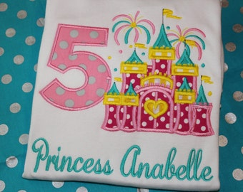 5th birthay Princess Castle Birthday Personalized tshirt, or dress- any number