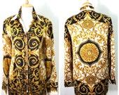 SALE Versace silk blouse Atelier Versace Medusa head print Baroque shirt