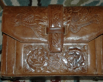 Hand-Tooled Leather Made in Mexico Handbag Floral and Horse design 1970's Vintage