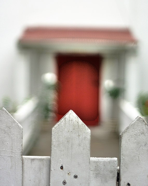 "Red Door Beyond the Fence Photograph, ""Let Me In"" Fine Art Print. White Picket Fence Caribbean. 8x10, 11x14, 16x20, 20x24, 24x30, 24x36"