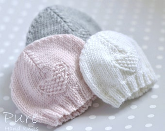 IN THE ROUND andFLAT  Easy Preemie  and Baby hat knitting pattern