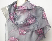 20 OFF SALE Unique Hand Painted Real Silk Chiffon Scarf with Japanese Camellia Camelia Pink Grey Fashion Gift READY To Ship