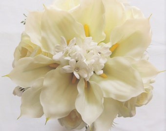 Ivory Cream Roses Freesia Latex Real Touch Silk Wedding Bridal Bouquet