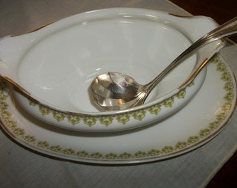 Haviland Limoge Gravy Boat w Plate  GDA  CF Field   France  Art Deco gold trim w green + Silver plated Sauce spoon