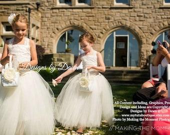 Flower Girl Dress. Ivory Dress. Lace overlay. Corset top, TUTU Skirt, Detachable Train & Hair Piece! Size 6m-10 Girls.