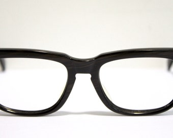 1950s Eyeglass Frames // 50s 60s Dark Woodgrain Glasses // MG016 // Germany // Metzler