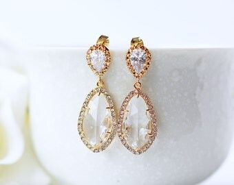 Cubic Zirconia Clear Glass Gold Wedding Earrings LUX Teardrop Modern Statement