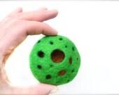 Handmade Felted Brooch 3D Abstract Wool Brooch OOAK Felt Gift Green Orange