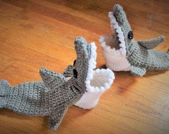 Shark Socks - Shark Slipper Socks - Shark Booties - Mens Shark Shoes - Gift For Him - Crochet Shark Slippers - Slippers - Sharks