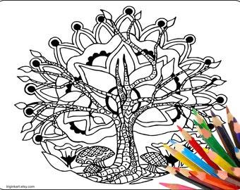 Zen Tree Mandala Adult coloring page