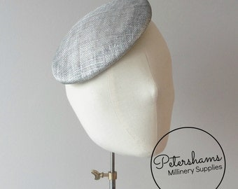 16cm Round Sinamay Button Fascinator Base Sinamay Millinery Fascinator Hat Base - Metallic Silver