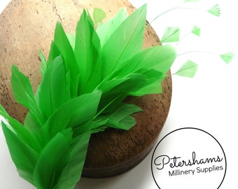 Stripped Diamond Coque & Goose Feather Wired Millinery Hat Mount - Apple Green