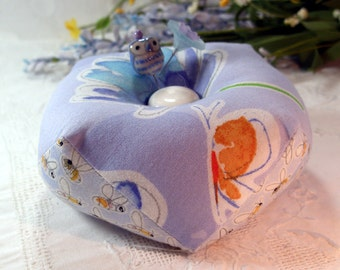 Pincushion, Biscornu Birds and the Bees, Double sided with emery-Made to Order