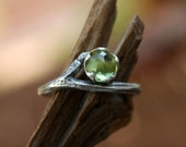 Peridot gemstone twig ring-rose cut-natural branch-sterling silver handmade-August Birthstone-made to order.