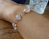 Sterling silver and quality rose quartz gemstone bracelet, artisan quality, wire wrapped
