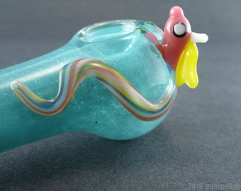 Rainicorn on Your Choice of Color Glass Pipe