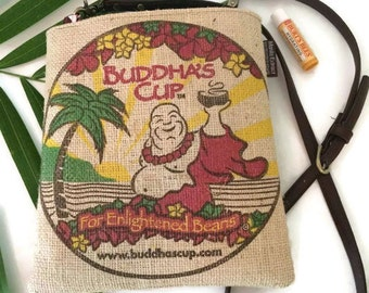 MTO. Custom. Buddha Crossbody Bag. Burlap Mini-Messenger. Repurposed Buddha's Cup Kona Coffee Bag. Handmade in Hawaii.