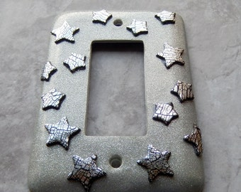 Silver Stars, rocker switch plate, polymer clay, sparkly silver background, silver leaf stars