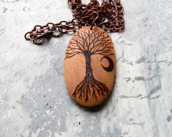 Waxing Crescent Moon and the Tree of Life, wood burned pendant, rustic, antique copper chain