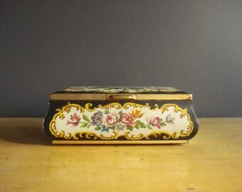 Large Vintage Flower Tea Tin - Tin Jewelry Box - Made in Holland