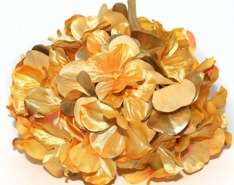 Large Metallic Yellow Gold Hydrangea Bunch - Full Head - Artificial Flowers, Blossoms, Silk Flowers - PRE-ORDER