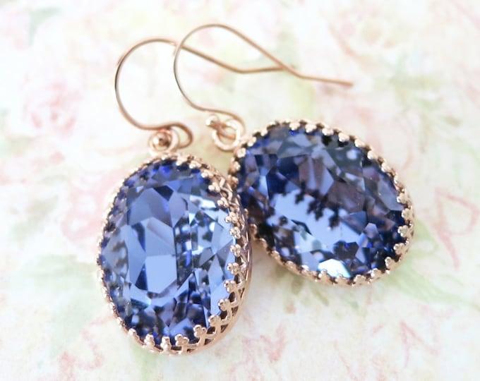 Rose Gold Tanzanite Purple Earrings ROSE GOLD FILLED Ear wires, Swarovski Crystal Oval Bridal Bridesmaid Wedding Vintage Earrings