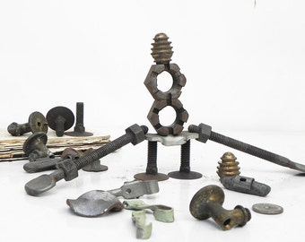 24 Salvaged Found Objects Hardware Gears for Your Alrtred Art Assemblage Steampunk Craft Projects DIY Repurpose