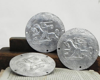 3 Salvaged Repurposed Aluminum Plates for Altered Art Assemblage Steampunk Projects