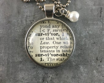 Dictionary Word Necklace - Survivor