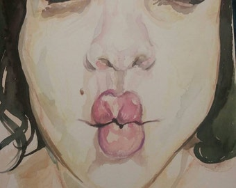 Watercolor, Art, Painting of a girl in watercolors,  giving a kiss, hand made, artwork,  original Art on paper.