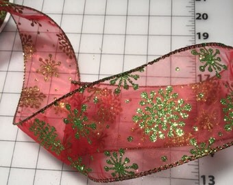 Gold snowflake red mesh 2.5 inch wired Christmas Ribbon priced by five yards