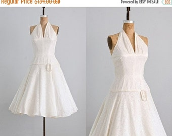 45% OFF SALE.... vintage 1950s lace dress  • wedding 50s dress  • 1950s halter party dress •