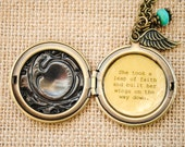 She took a leap of faith and built her wings on the way down - women's locket - graduation, congratulations, promotion gift