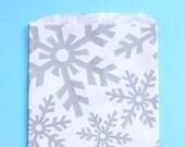 Medium Silver Snowflake Favor Bags, Silver Goodie Bags, Christmas Gift Bags, Snowflake Bags, Paper Sacks, Sweet Bags, Candy Buffet Bags (12)