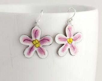 Dainty Pink and Yellow Flower Enamel Earrings