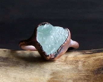 Aquamarine Raw Crystal Stone Ring Midwest Alchemy Size 7.5 Natural Jewelry Copper Aquamarine Ring Size 6 Ring March Birthstone