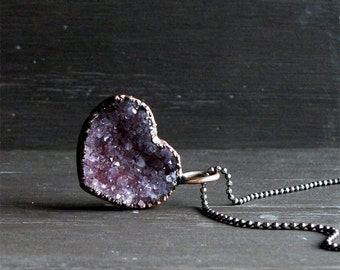 Heart Necklace Quartz Necklace Druzy Valentine Love Amethyst Natural Stone Necklace Pendant Rough Stone Midwest Alchemy