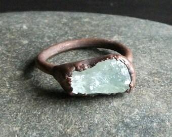 Aquamarine Ring Rough Stone Jewelry Raw Crystal Aquamarine Ring Copper Gemstone Ring Size 8.5 Ring March Birthstone