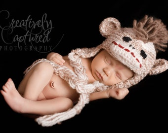 Crochet PATTERN Sock Monkey Crochet Hat Pattern